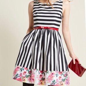Mod Cloth Miss Mix-it Floral/Stripe Dress Sz 1x